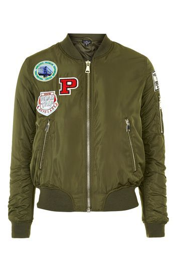 Tall Badged Ma1 Bomber Jacket - pattern: plain; collar: round collar/collarless; style: bomber; predominant colour: khaki; occasions: casual, creative work; length: standard; fit: straight cut (boxy); fibres: polyester/polyamide - 100%; sleeve length: long sleeve; sleeve style: standard; texture group: silky - light; collar break: medium; pattern type: fabric; trends: tomboy girl; season: s/s 2016; wardrobe: basic