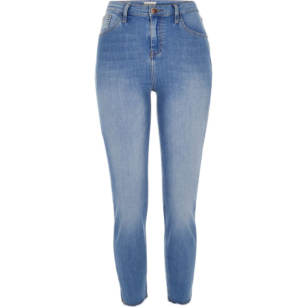 Womens. Mi. Lu. As. Ig. Is. Or. Kinn. Eans. - style: skinny leg; length: standard; pattern: plain; waist: high rise; pocket detail: traditional 5 pocket; predominant colour: denim; occasions: casual; fibres: cotton - stretch; jeans detail: whiskering, shading down centre of thigh; texture group: denim; pattern type: fabric; season: s/s 2016; wardrobe: basic