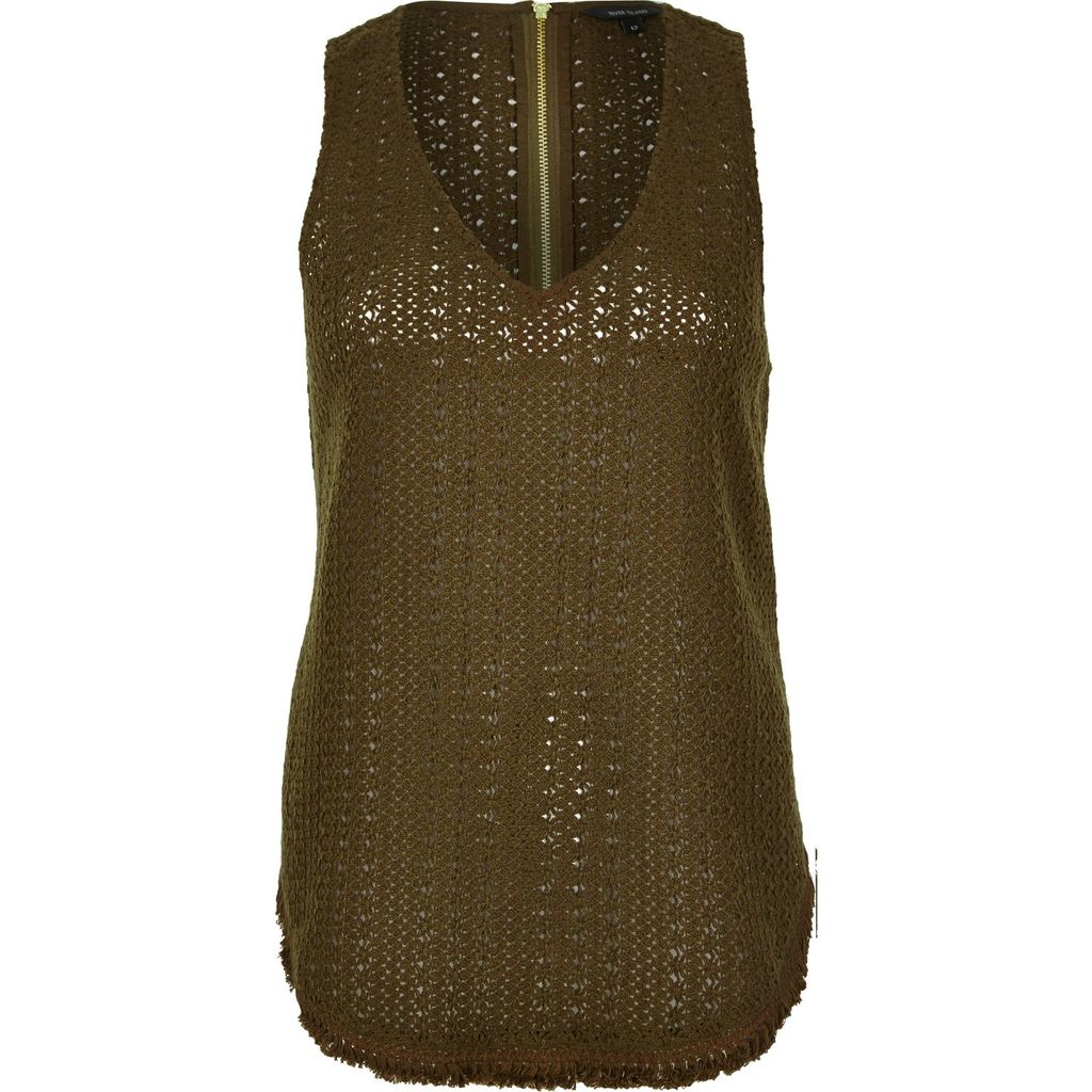 Womens Khaki Crochet Tank Top - neckline: v-neck; pattern: plain; sleeve style: sleeveless; style: vest top; predominant colour: khaki; occasions: casual; length: standard; fibres: cotton - 100%; fit: body skimming; sleeve length: sleeveless; texture group: knits/crochet; pattern type: fabric; season: s/s 2016; wardrobe: basic