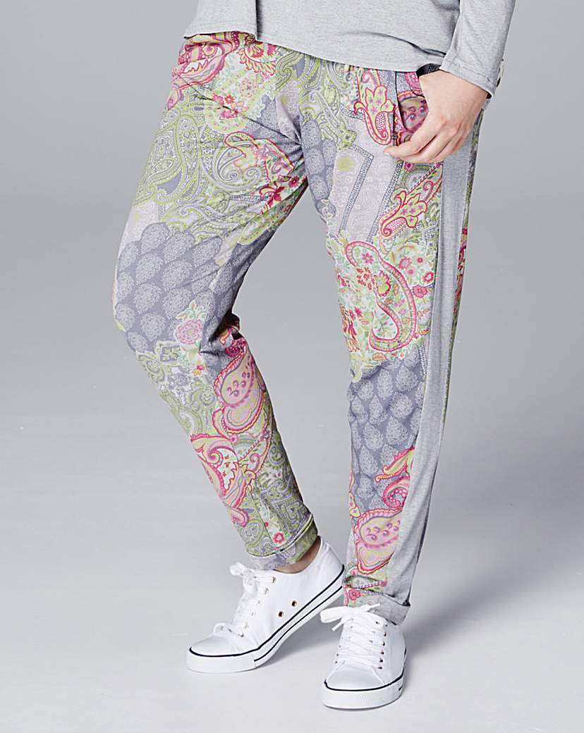 A Postcard From Brighton Ibiza Trousers - length: standard; style: tracksuit pants; waist detail: elasticated waist; waist: mid/regular rise; secondary colour: pink; predominant colour: light grey; occasions: casual; fibres: polyester/polyamide - stretch; fit: baggy; pattern type: fabric; pattern: patterned/print; texture group: jersey - stretchy/drapey; pattern size: standard (bottom); multicoloured: multicoloured; season: s/s 2016; wardrobe: highlight