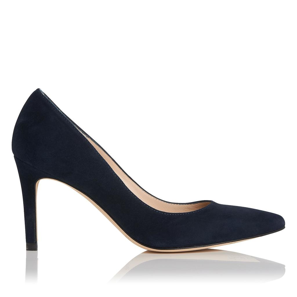 Floret Blue Suede Closed Courts - predominant colour: navy; occasions: evening, occasion; material: suede; heel height: high; heel: stiletto; toe: pointed toe; style: courts; finish: plain; pattern: plain; season: s/s 2016; wardrobe: event