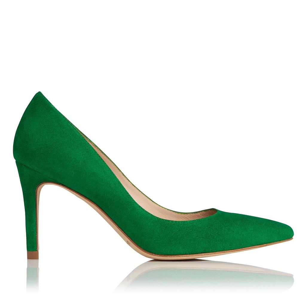 Floret Green Suede Court Green Apple - predominant colour: emerald green; occasions: evening, occasion; material: suede; heel height: high; heel: stiletto; toe: pointed toe; style: courts; finish: plain; pattern: plain; season: s/s 2016; wardrobe: event