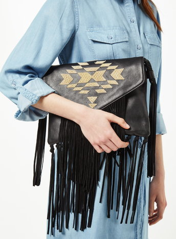 Womens Aztec Fringe Shoulder Bag, Black - secondary colour: gold; predominant colour: black; occasions: casual, creative work; type of pattern: standard; style: shoulder; length: shoulder (tucks under arm); size: standard; material: leather; embellishment: fringing; pattern: plain; finish: plain; season: s/s 2016; wardrobe: investment