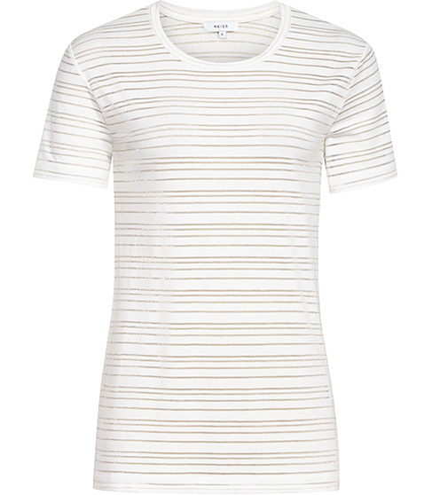 Ellen Sheer Stripe T Shirt - pattern: horizontal stripes; style: t-shirt; predominant colour: ivory/cream; occasions: casual; length: standard; fibres: polyester/polyamide - stretch; fit: body skimming; neckline: crew; sleeve length: short sleeve; sleeve style: standard; texture group: jersey - clingy; pattern type: fabric; season: s/s 2016; wardrobe: basic