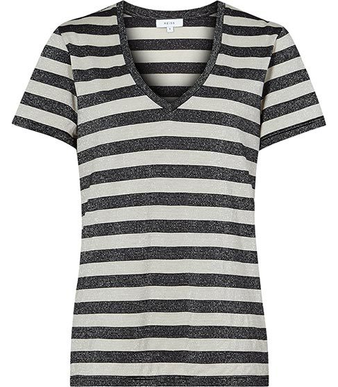 Novaa Metallic Stripe T Shirt - neckline: v-neck; pattern: horizontal stripes; style: t-shirt; secondary colour: white; predominant colour: black; occasions: casual; length: standard; fibres: cotton - stretch; fit: body skimming; sleeve length: short sleeve; sleeve style: standard; pattern type: fabric; texture group: jersey - stretchy/drapey; pattern size: big & busy (top); season: s/s 2016; wardrobe: basic