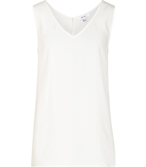 Lauderdale Trim Detail Tank Top - neckline: v-neck; pattern: plain; sleeve style: sleeveless; style: vest top; predominant colour: ivory/cream; occasions: casual; length: standard; fibres: viscose/rayon - 100%; fit: body skimming; sleeve length: sleeveless; texture group: crepes; pattern type: fabric; season: s/s 2016