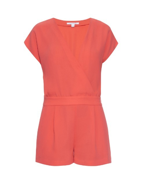 Emerson Playsuit - neckline: v-neck; pattern: plain; length: short shorts; predominant colour: coral; occasions: evening; fit: body skimming; sleeve length: short sleeve; sleeve style: standard; texture group: crepes; style: playsuit; pattern type: fabric; fibres: viscose/rayon - mix; season: s/s 2016; wardrobe: event