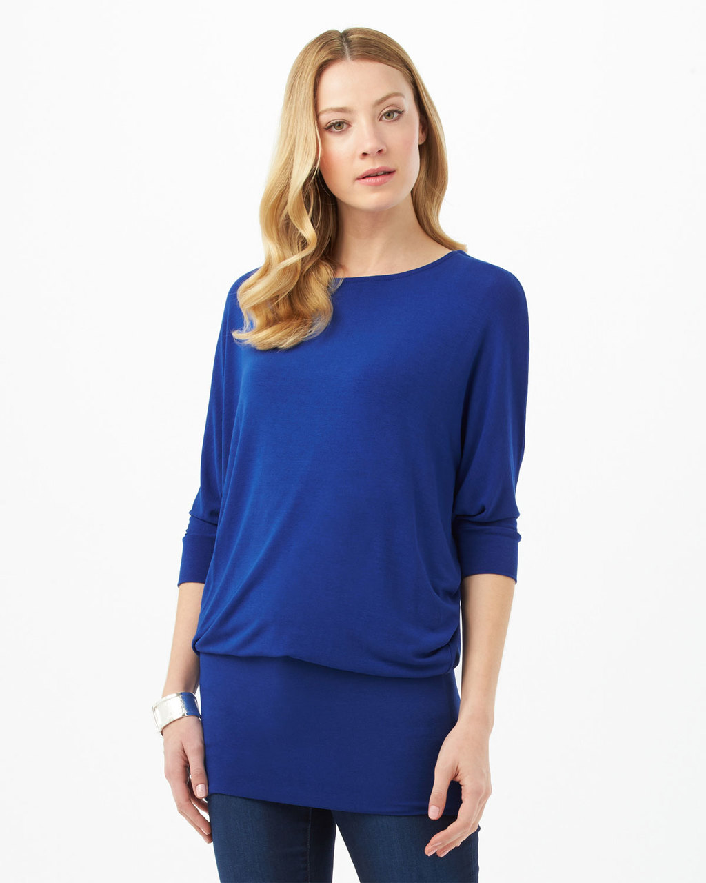 Beth Dress - style: tunic; length: below the knee; pattern: plain; predominant colour: royal blue; occasions: casual; fit: body skimming; fibres: viscose/rayon - stretch; neckline: crew; sleeve length: 3/4 length; sleeve style: standard; pattern type: fabric; texture group: jersey - stretchy/drapey; season: s/s 2016
