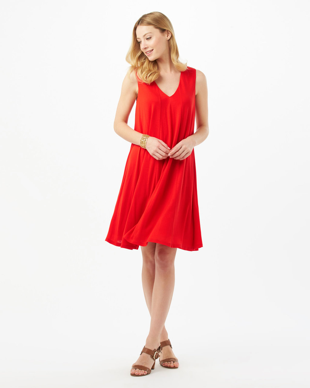 Alba Trapeze Dress - style: trapeze; neckline: v-neck; fit: loose; pattern: plain; sleeve style: sleeveless; predominant colour: true red; occasions: evening; length: just above the knee; fibres: polyester/polyamide - 100%; sleeve length: sleeveless; pattern type: fabric; texture group: jersey - stretchy/drapey; season: s/s 2016; wardrobe: event