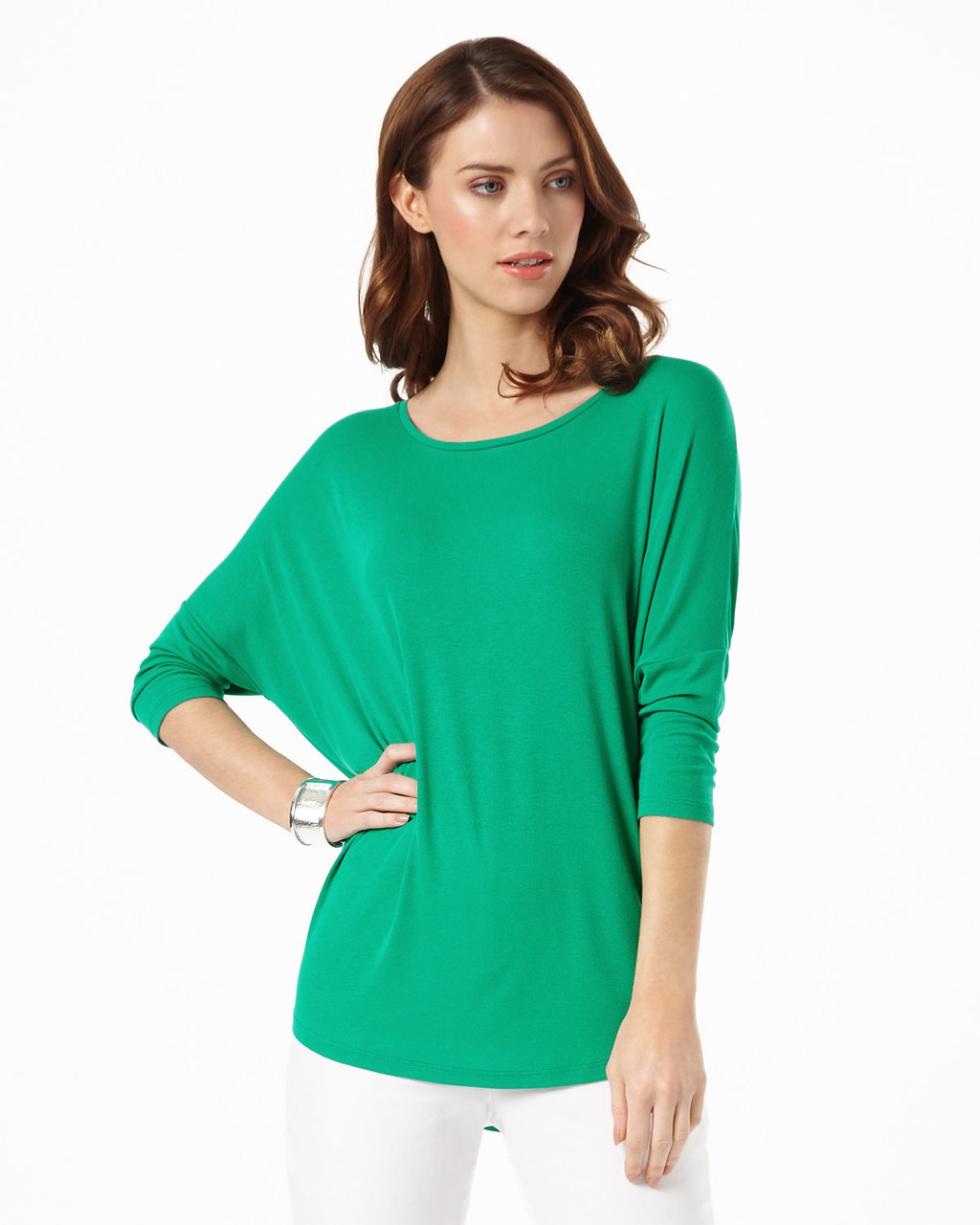 Catrina Top - neckline: round neck; sleeve style: dolman/batwing; pattern: plain; length: below the bottom; style: t-shirt; predominant colour: emerald green; occasions: casual, creative work; fibres: viscose/rayon - stretch; fit: loose; sleeve length: 3/4 length; pattern type: fabric; texture group: jersey - stretchy/drapey; season: s/s 2016; wardrobe: highlight