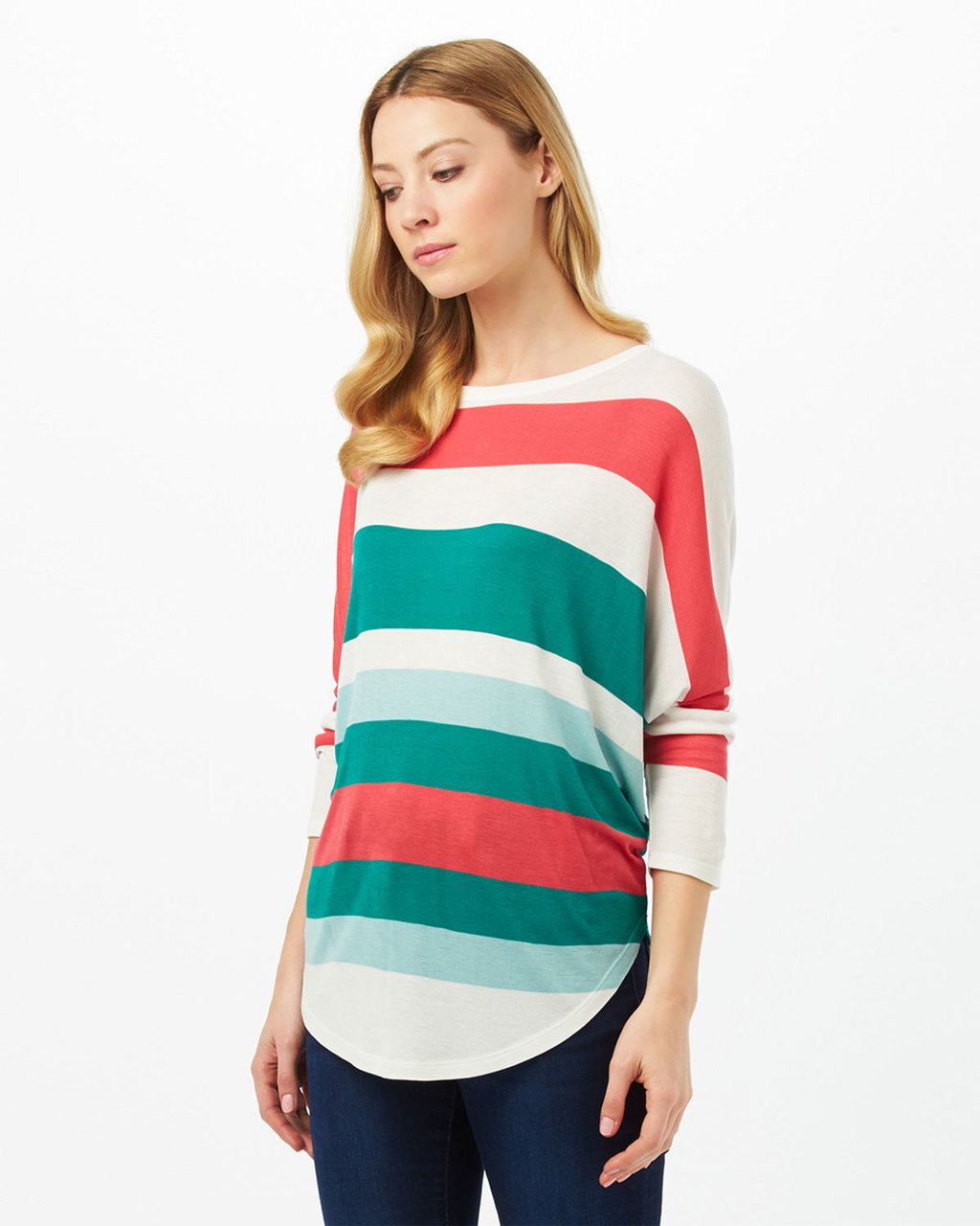 Catrina Multi Stripe Top - pattern: horizontal stripes; length: below the bottom; style: t-shirt; predominant colour: mint green; secondary colour: coral; occasions: casual, creative work; fibres: viscose/rayon - 100%; fit: loose; neckline: crew; sleeve length: long sleeve; sleeve style: standard; pattern type: fabric; pattern size: standard; texture group: jersey - stretchy/drapey; multicoloured: multicoloured; season: s/s 2016; wardrobe: highlight