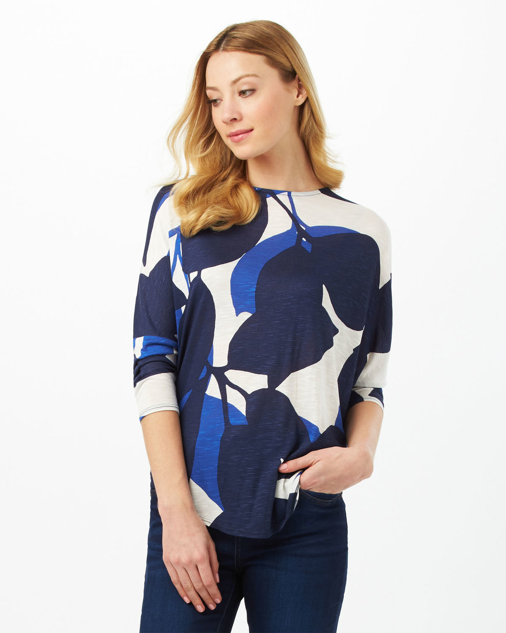 Esme Slub Top - neckline: round neck; secondary colour: ivory/cream; predominant colour: navy; occasions: casual, creative work; length: standard; style: top; fibres: viscose/rayon - 100%; fit: body skimming; sleeve length: 3/4 length; sleeve style: standard; pattern type: fabric; pattern: patterned/print; texture group: jersey - stretchy/drapey; pattern size: big & busy (top); multicoloured: multicoloured; season: s/s 2016; wardrobe: highlight