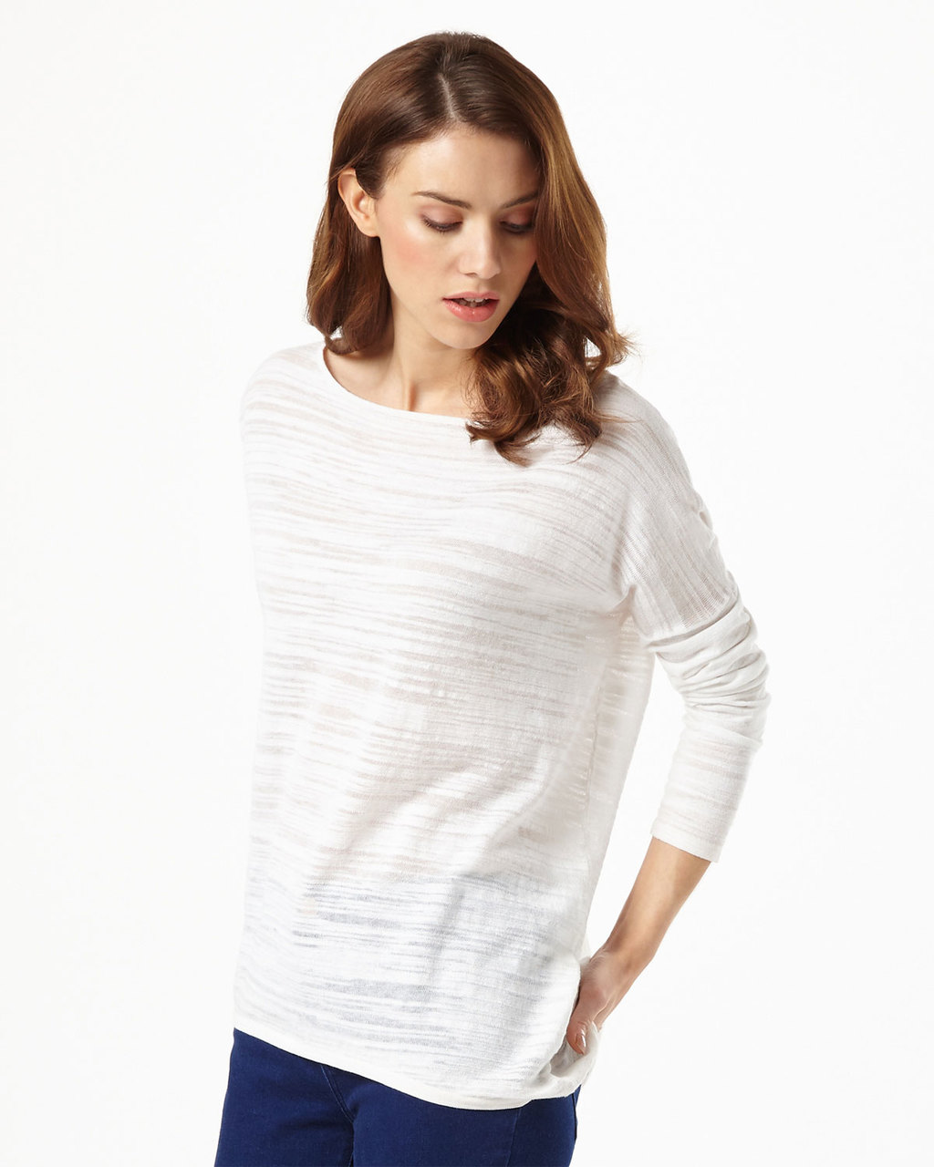 Slub Elen Ellipse Jumper - pattern: plain; style: standard; predominant colour: ivory/cream; occasions: casual; length: standard; fibres: cotton - mix; fit: slim fit; neckline: crew; sleeve length: 3/4 length; sleeve style: standard; texture group: knits/crochet; pattern type: fabric; season: s/s 2016; wardrobe: basic