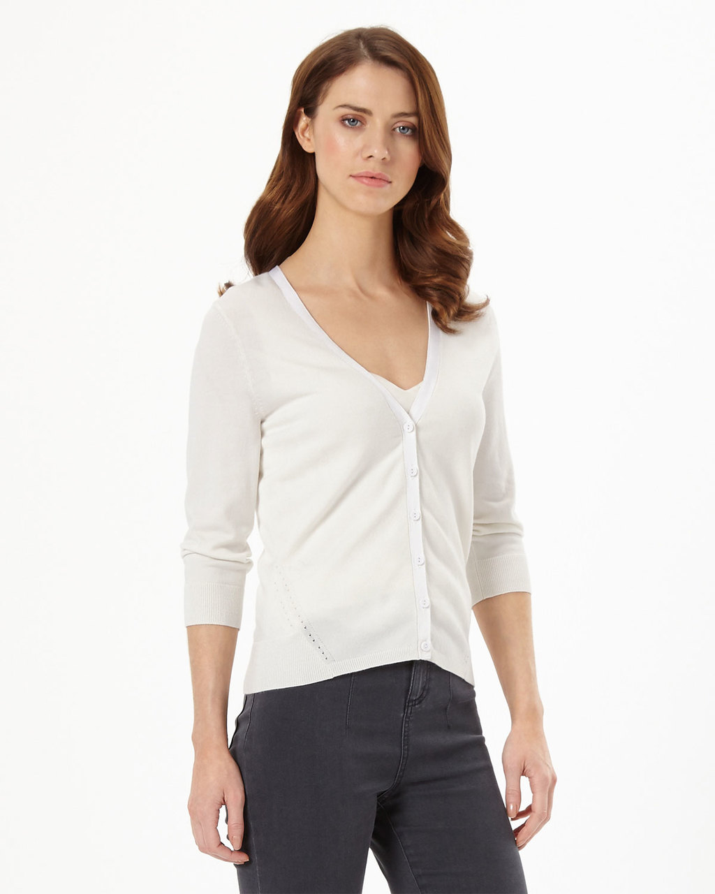 Elin Cardi - neckline: low v-neck; pattern: plain; predominant colour: ivory/cream; occasions: casual, creative work; length: standard; style: standard; fit: standard fit; sleeve length: 3/4 length; sleeve style: standard; texture group: knits/crochet; pattern type: knitted - fine stitch; fibres: viscose/rayon - mix; season: s/s 2016; wardrobe: basic