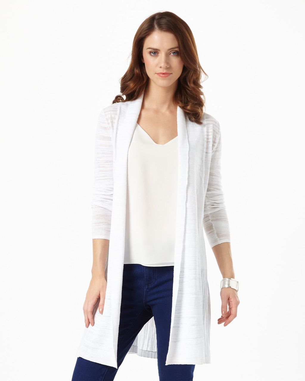 Slub Lili Longline Cardi - pattern: plain; neckline: collarless open; style: open front; length: on the knee; predominant colour: white; occasions: casual, creative work; fibres: cotton - mix; fit: standard fit; sleeve length: long sleeve; sleeve style: standard; texture group: knits/crochet; pattern type: knitted - fine stitch; season: s/s 2016; wardrobe: basic