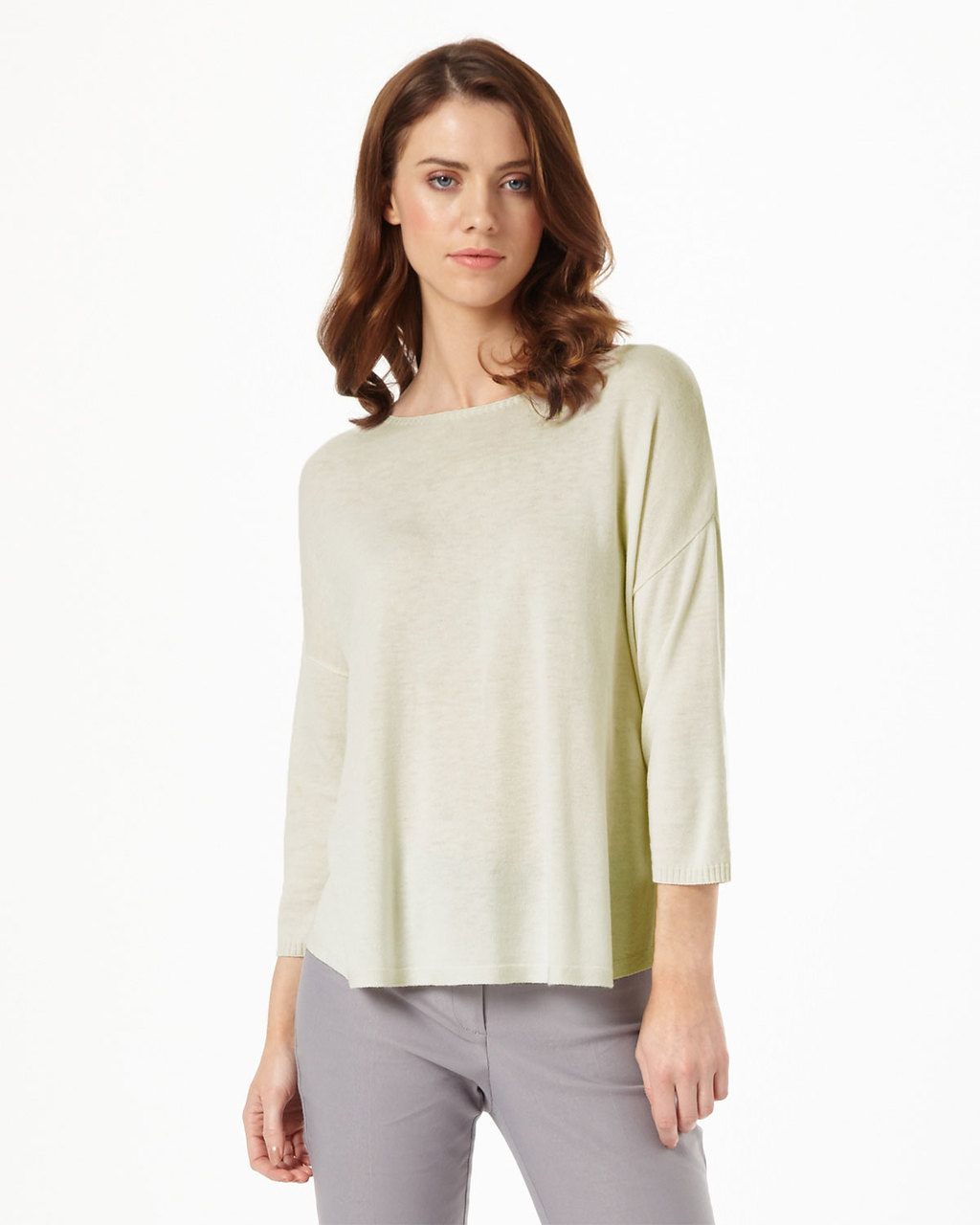 Christina Side Split Knit - pattern: plain; style: standard; predominant colour: ivory/cream; occasions: casual; length: standard; fit: slim fit; neckline: crew; sleeve length: 3/4 length; sleeve style: standard; texture group: knits/crochet; pattern type: fabric; fibres: viscose/rayon - mix; season: s/s 2016; wardrobe: basic