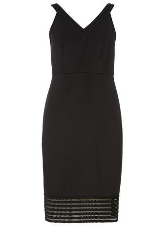 Womens Black Mesh Pencil Dress Black - style: shift; neckline: low v-neck; fit: tailored/fitted; pattern: plain; sleeve style: sleeveless; predominant colour: black; length: on the knee; fibres: polyester/polyamide - stretch; occasions: occasion; sleeve length: sleeveless; pattern type: fabric; texture group: other - light to midweight; season: s/s 2016