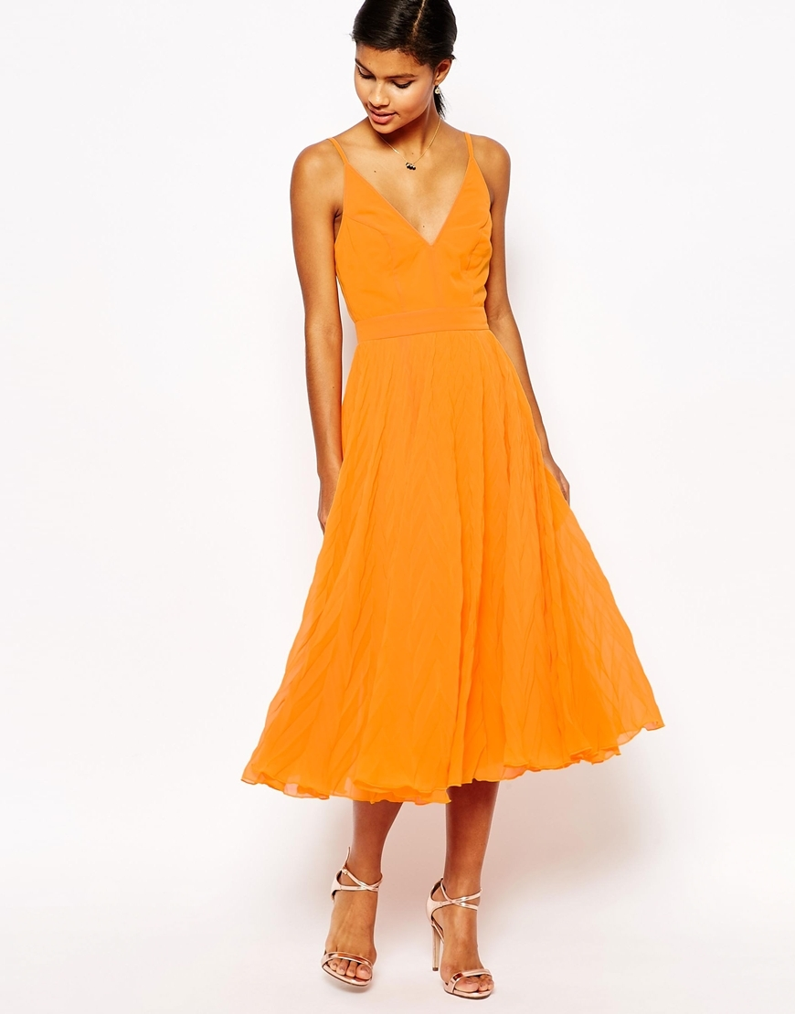 Chevron Textured Pleated Cami Midi Dress Orange - length: calf length; neckline: low v-neck; sleeve style: spaghetti straps; pattern: plain; style: vest; predominant colour: mustard; occasions: evening; fit: body skimming; fibres: polyester/polyamide - 100%; sleeve length: sleeveless; pattern type: fabric; texture group: jersey - stretchy/drapey; season: s/s 2016; wardrobe: event