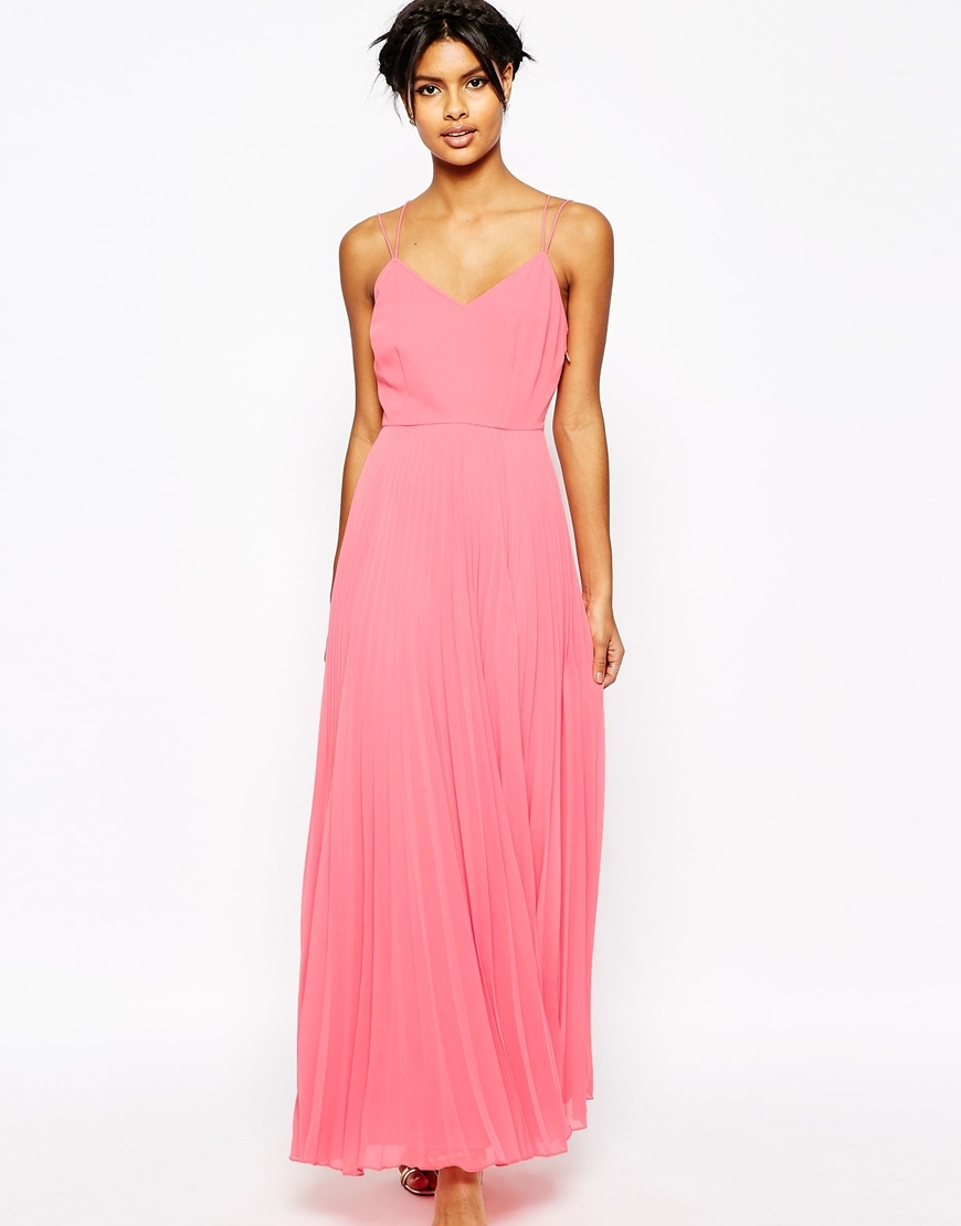 Woven Cami Maxi Dress With Pleated Skirt Coral - neckline: low v-neck; sleeve style: spaghetti straps; pattern: plain; style: maxi dress; length: ankle length; predominant colour: pink; occasions: evening; fit: body skimming; fibres: polyester/polyamide - 100%; sleeve length: sleeveless; texture group: sheer fabrics/chiffon/organza etc.; pattern type: fabric; season: s/s 2016; wardrobe: event