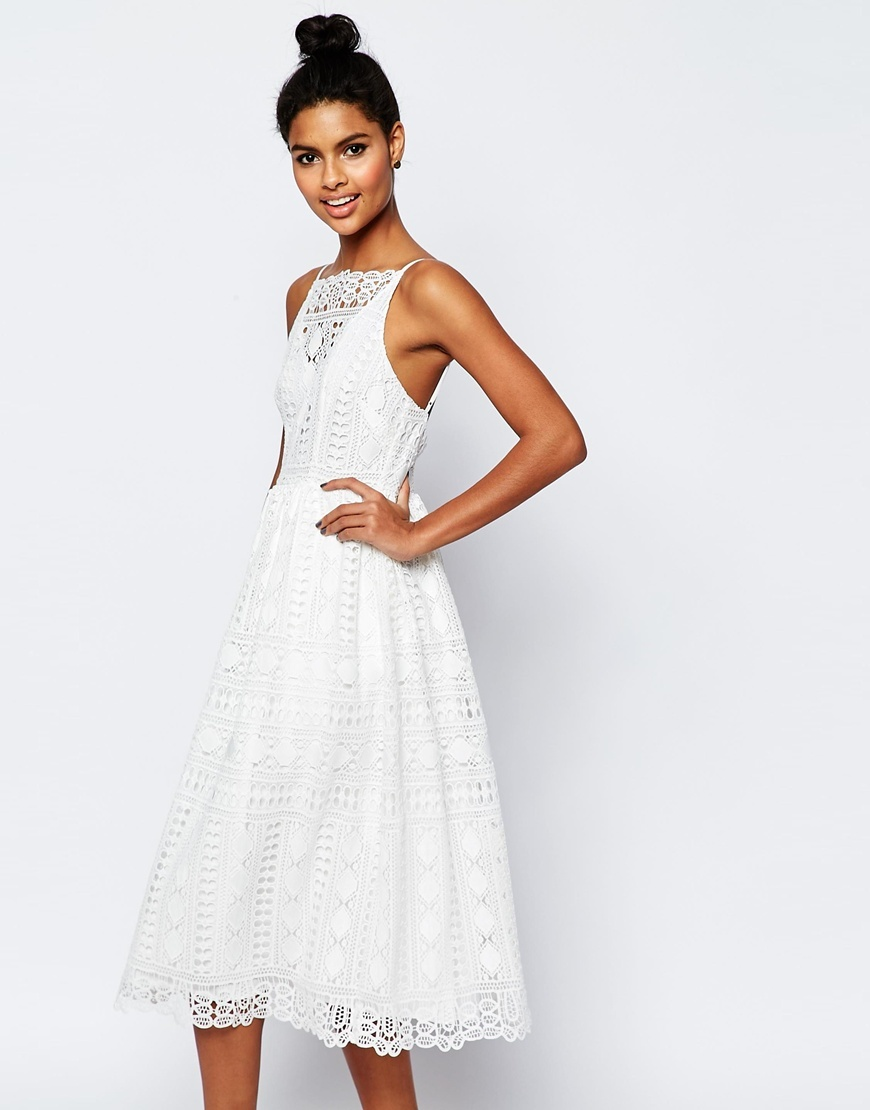 Premium Occasion Midi Dress In Geo Lace White - length: below the knee; neckline: high square neck; sleeve style: spaghetti straps; style: prom dress; predominant colour: white; fit: fitted at waist & bust; fibres: polyester/polyamide - 100%; occasions: occasion, holiday, creative work; sleeve length: sleeveless; texture group: lace; pattern type: fabric; pattern size: standard; pattern: patterned/print; season: s/s 2016; wardrobe: highlight