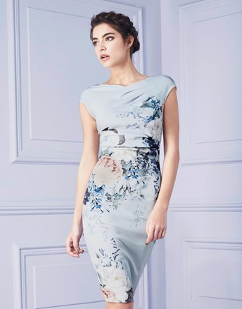 Print Pleated Shift Dress - neckline: slash/boat neckline; sleeve style: capped; fit: tight; style: bodycon; predominant colour: pale blue; secondary colour: navy; occasions: evening; length: on the knee; fibres: polyester/polyamide - stretch; sleeve length: short sleeve; texture group: jersey - clingy; pattern type: fabric; pattern: florals; multicoloured: multicoloured; season: s/s 2016; wardrobe: event