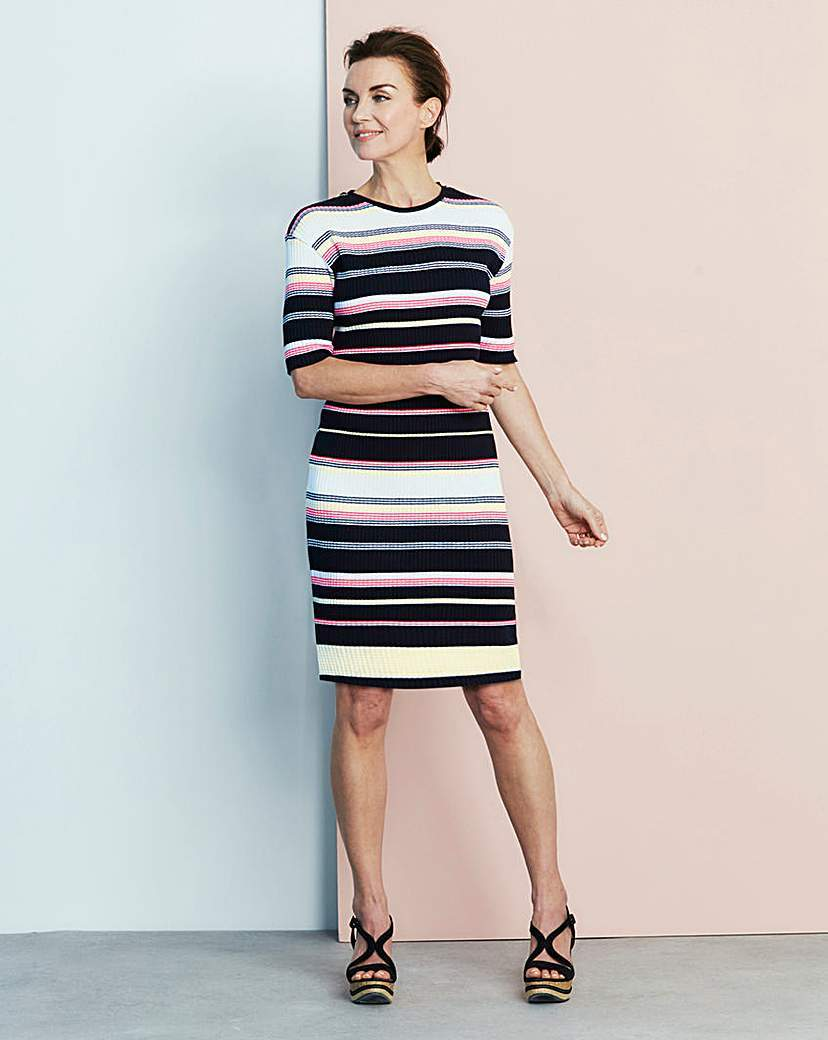 Knitted Dress - style: jumper dress; pattern: horizontal stripes; secondary colour: white; predominant colour: black; occasions: evening; length: on the knee; fit: body skimming; fibres: acrylic - mix; neckline: crew; sleeve length: short sleeve; sleeve style: standard; texture group: knits/crochet; pattern type: fabric; multicoloured: multicoloured; season: s/s 2016
