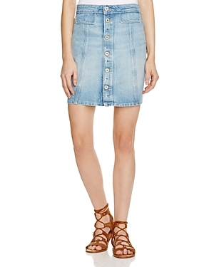 Denim Bianca Denim Skirt In Ambroise - length: mid thigh; pattern: plain; fit: body skimming; waist: mid/regular rise; predominant colour: pale blue; occasions: casual; style: mini skirt; fibres: cotton - mix; texture group: denim; pattern type: fabric; season: s/s 2016; wardrobe: basic