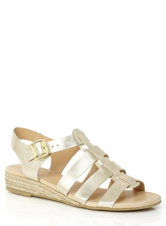 Womens Lotus Light Gold Makepeace Sandals, Gold - predominant colour: gold; occasions: casual, holiday; material: faux leather; heel height: flat; heel: wedge; toe: open toe/peeptoe; style: standard; finish: plain; pattern: plain; season: s/s 2016; wardrobe: basic
