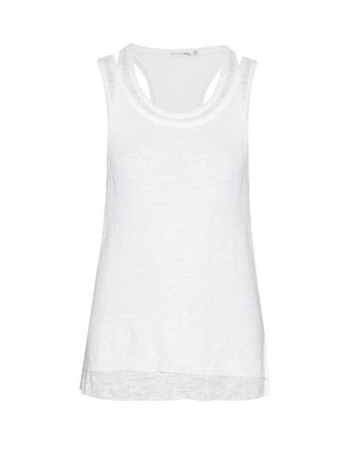 Raw Edge Layered Linen Tank Top - neckline: round neck; pattern: plain; sleeve style: sleeveless; style: vest top; predominant colour: white; occasions: casual; length: standard; fibres: linen - 100%; fit: body skimming; sleeve length: sleeveless; texture group: linen; pattern type: fabric; season: s/s 2016; wardrobe: basic