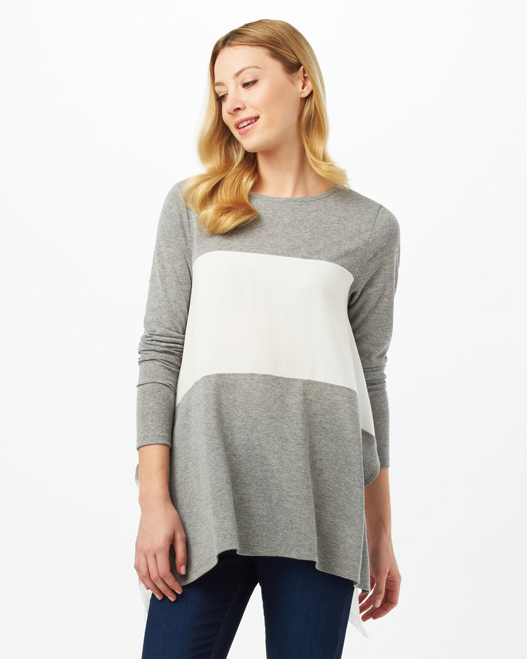 Caroline Colour Block Top - pattern: plain; length: below the bottom; secondary colour: white; predominant colour: light grey; occasions: casual, creative work; style: top; fibres: polyester/polyamide - mix; fit: body skimming; neckline: crew; sleeve length: 3/4 length; sleeve style: standard; texture group: knits/crochet; pattern type: knitted - fine stitch; season: s/s 2016; wardrobe: basic
