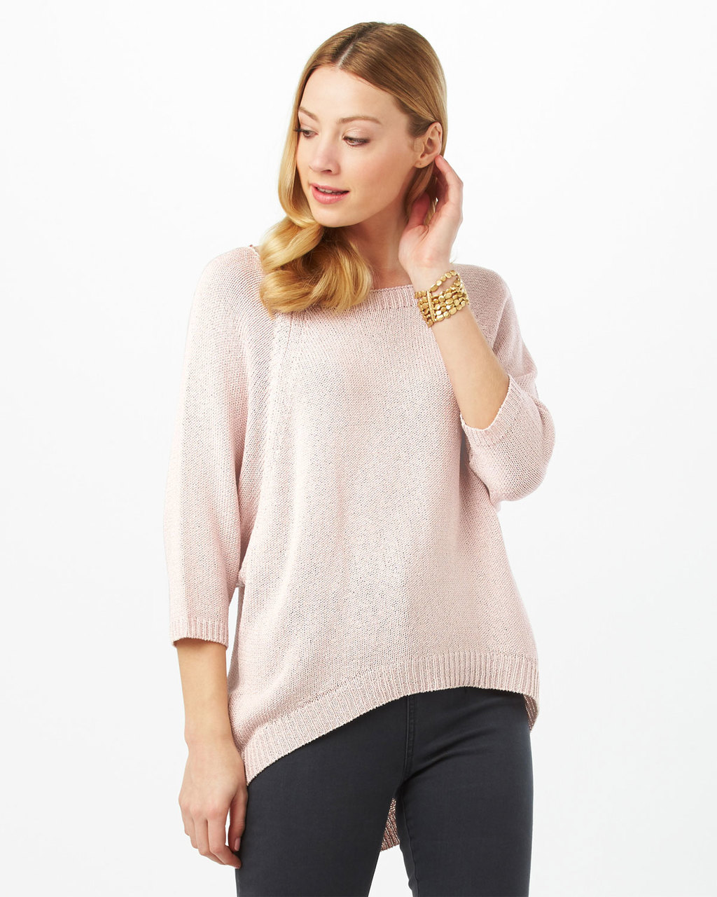 Bianca Batwing Jumper - pattern: plain; length: below the bottom; style: standard; predominant colour: blush; occasions: casual; fibres: acrylic - mix; fit: loose; neckline: crew; sleeve length: 3/4 length; sleeve style: standard; texture group: knits/crochet; pattern type: fabric; season: s/s 2016