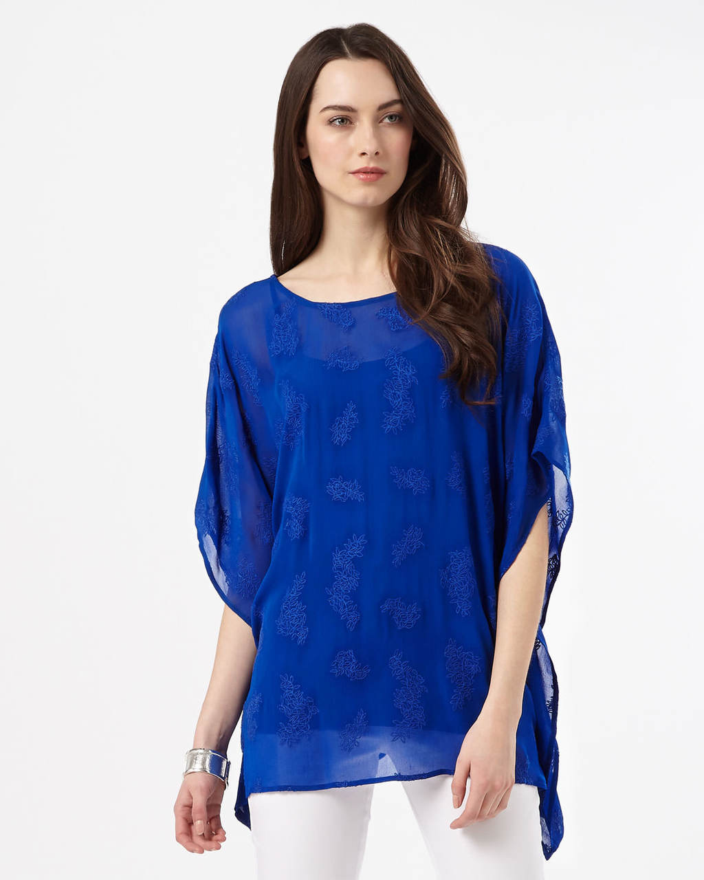 Guilia Embroidered Tunic - neckline: round neck; sleeve style: dolman/batwing; pattern: plain; length: below the bottom; style: tunic; predominant colour: royal blue; occasions: casual, evening; fibres: viscose/rayon - 100%; fit: body skimming; sleeve length: 3/4 length; texture group: sheer fabrics/chiffon/organza etc.; pattern type: fabric; embellishment: embroidered; season: s/s 2016; wardrobe: highlight