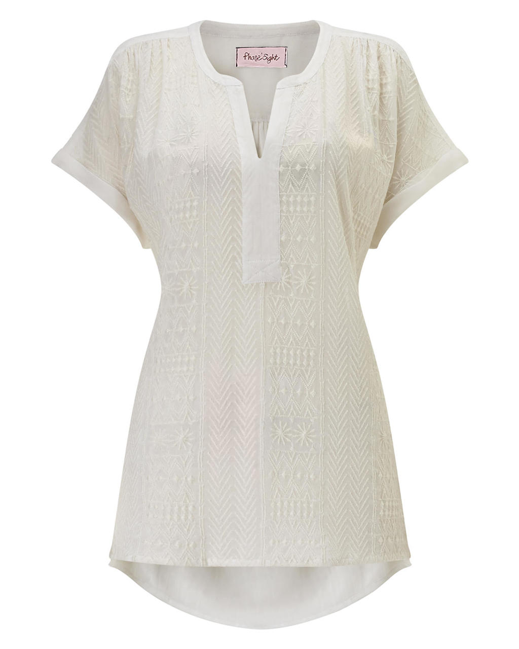 Eddie Embroidered Top - neckline: v-neck; pattern: plain; length: below the bottom; predominant colour: ivory/cream; occasions: casual; style: top; fibres: viscose/rayon - 100%; fit: body skimming; sleeve length: short sleeve; sleeve style: standard; pattern type: fabric; texture group: other - light to midweight; embellishment: embroidered; season: s/s 2016; wardrobe: highlight