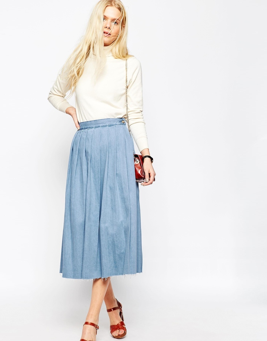 Denim Pleated Raw Hem Midi Skirt In Blue Blue - length: calf length; pattern: plain; fit: loose/voluminous; style: pleated; waist: high rise; predominant colour: pale blue; occasions: casual; fibres: cotton - stretch; hip detail: adds bulk at the hips; waist detail: feature waist detail; texture group: denim; pattern type: fabric; season: s/s 2016; wardrobe: basic