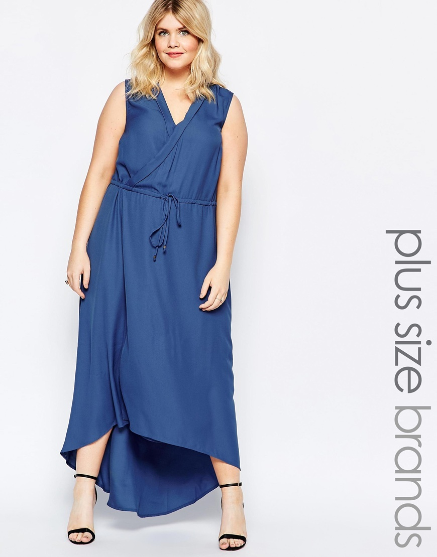 Wrap Front Maxi Dress With Drawstring Waist Navy - neckline: v-neck; fit: fitted at waist; pattern: plain; sleeve style: sleeveless; style: maxi dress; length: ankle length; waist detail: belted waist/tie at waist/drawstring; predominant colour: royal blue; occasions: casual; fibres: polyester/polyamide - 100%; sleeve length: sleeveless; texture group: cotton feel fabrics; pattern type: fabric; season: s/s 2016; wardrobe: highlight