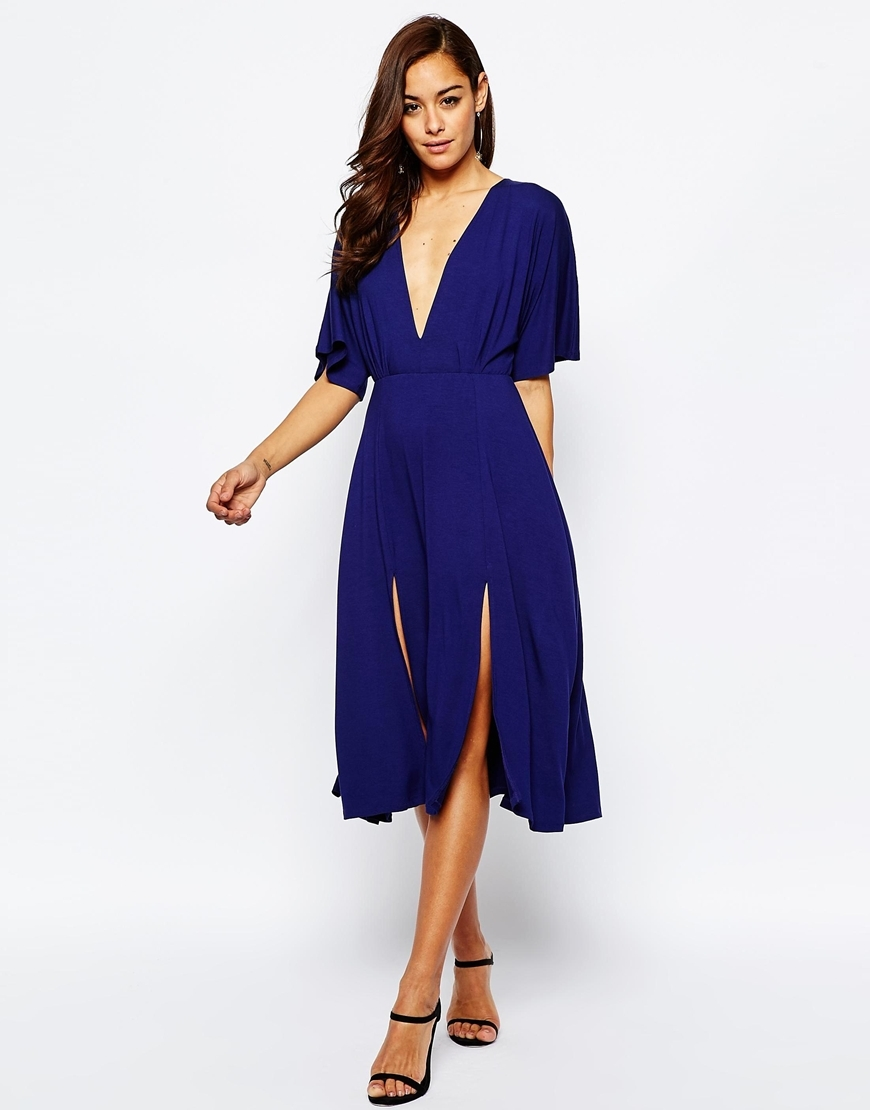 Kimono Plunge Midi With Splits Dress Navy - length: below the knee; neckline: plunge; sleeve style: angel/waterfall; fit: fitted at waist; pattern: plain; predominant colour: navy; occasions: evening, occasion; style: fit & flare; fibres: viscose/rayon - stretch; hip detail: slits at hip; sleeve length: half sleeve; pattern type: fabric; texture group: jersey - stretchy/drapey; season: s/s 2016