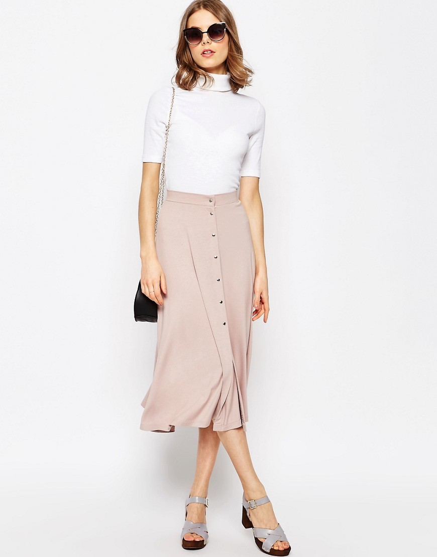 Midi Skater Skirt With Poppers Blush - length: below the knee; pattern: plain; style: full/prom skirt; fit: loose/voluminous; waist: high rise; predominant colour: blush; fibres: viscose/rayon - stretch; hip detail: subtle/flattering hip detail; waist detail: feature waist detail; pattern type: fabric; texture group: jersey - stretchy/drapey; occasions: creative work; season: s/s 2016; wardrobe: basic
