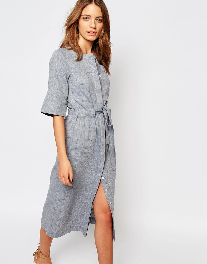 Linen Midi Dress Blue - style: shift; length: calf length; pattern: plain; waist detail: belted waist/tie at waist/drawstring; predominant colour: royal blue; occasions: casual; fit: body skimming; fibres: linen - mix; neckline: crew; sleeve length: half sleeve; sleeve style: standard; texture group: linen; pattern type: fabric; multicoloured: multicoloured; season: s/s 2016