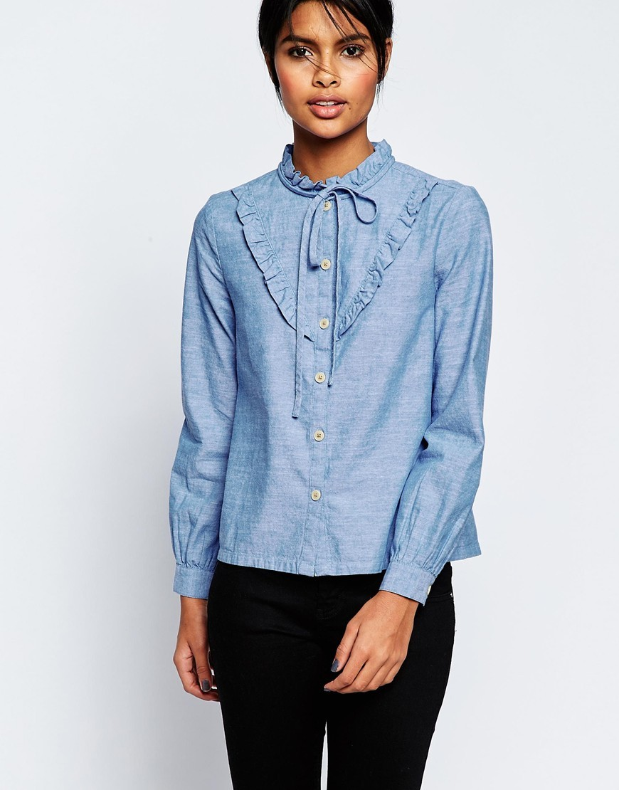 Casual Shirt With Frill Detail And Tie Blue - pattern: plain; neckline: pussy bow; style: blouse; predominant colour: pale blue; occasions: casual; length: standard; fibres: cotton - 100%; fit: straight cut; sleeve length: long sleeve; sleeve style: standard; texture group: denim; bust detail: bulky details at bust; pattern type: fabric; season: s/s 2016; wardrobe: highlight