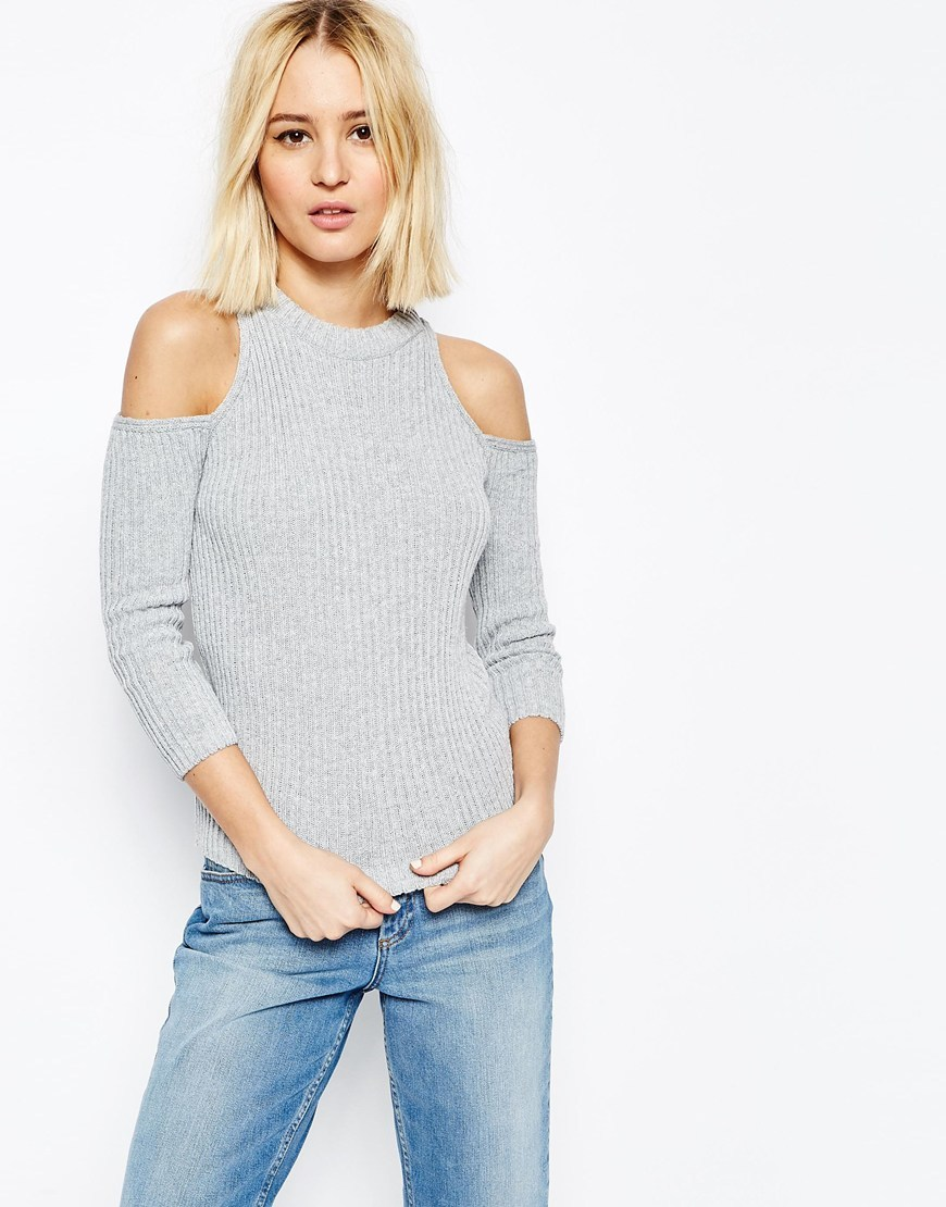 Jumper In Rib With Cold Shoulder Grey - pattern: plain; neckline: high neck; style: standard; predominant colour: light grey; occasions: casual, creative work; length: standard; fibres: cotton - mix; fit: standard fit; shoulder detail: cut out shoulder; sleeve length: 3/4 length; sleeve style: standard; texture group: knits/crochet; pattern type: knitted - fine stitch; season: s/s 2016