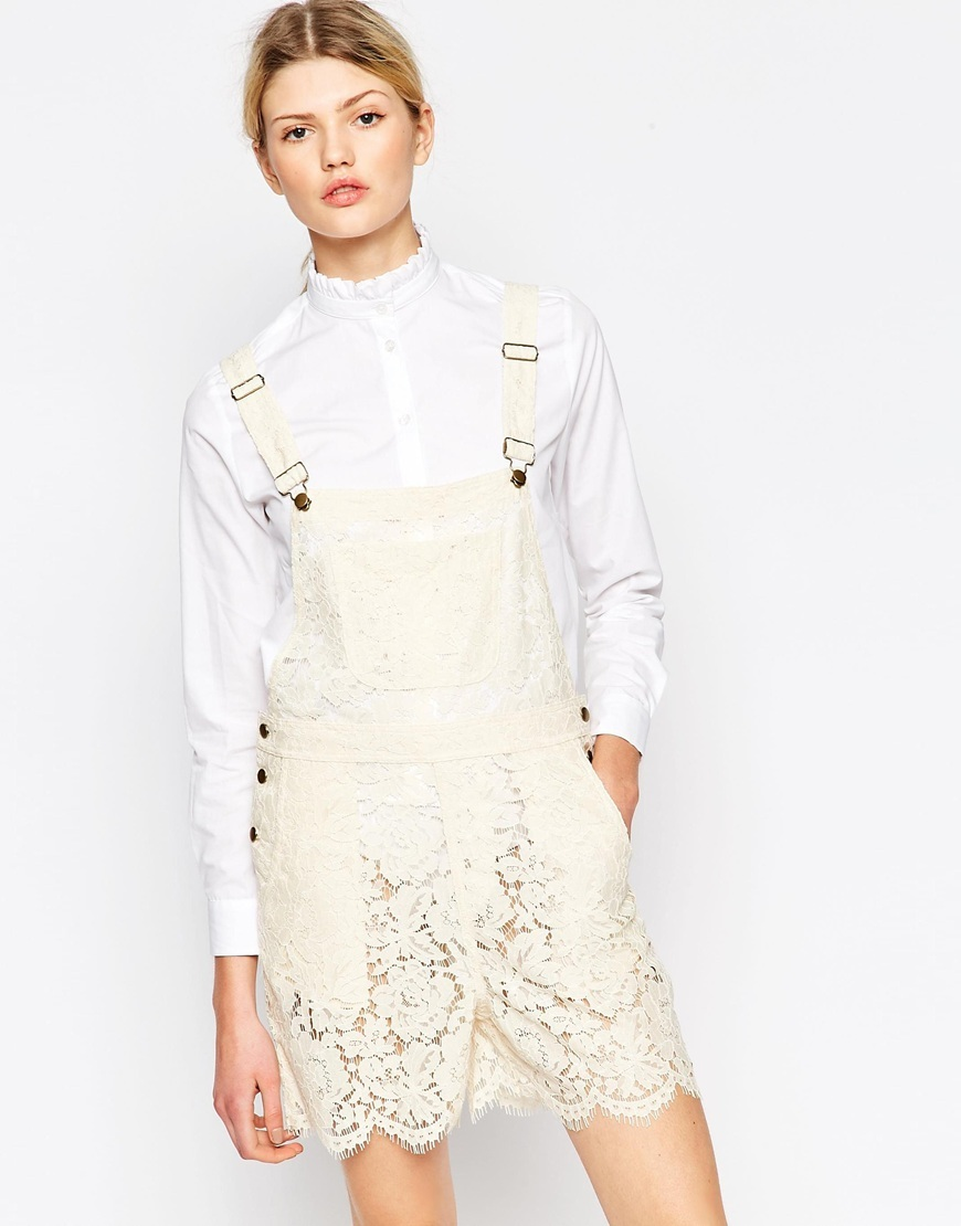 Gothic Lace Dungaree In White White Smoke - sleeve style: standard vest straps/shoulder straps; pattern: plain; length: short shorts; predominant colour: ivory/cream; occasions: casual, creative work; fit: body skimming; fibres: cotton - mix; sleeve length: sleeveless; style: dungarees; neckline: low square neck; pattern type: fabric; texture group: other - light to midweight; embellishment: lace; season: s/s 2016; wardrobe: highlight