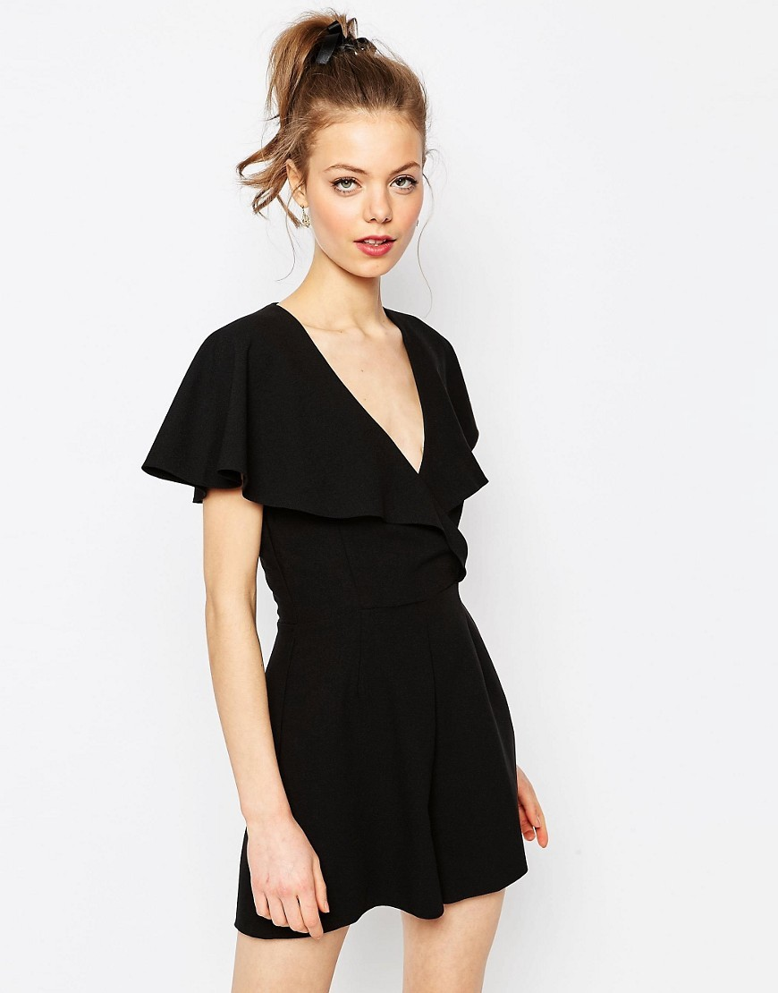 Occasion Ruffle Wrap Playsuit Black - neckline: low v-neck; sleeve style: angel/waterfall; fit: fitted at waist; pattern: plain; bust detail: subtle bust detail; length: short shorts; predominant colour: black; occasions: evening; fibres: polyester/polyamide - mix; sleeve length: short sleeve; texture group: crepes; style: playsuit; pattern type: fabric; season: s/s 2016; wardrobe: event