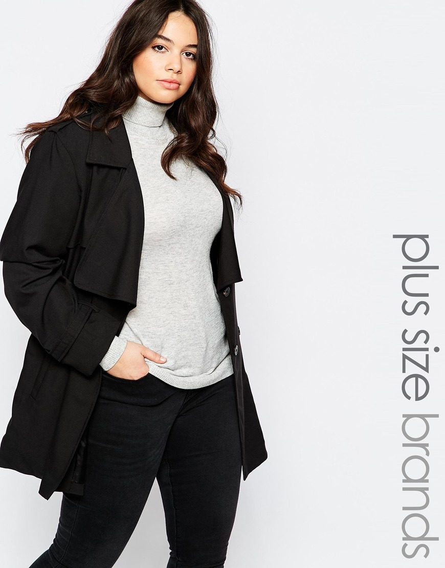 Plus Belted Mac Black - pattern: plain; length: below the bottom; fit: loose; style: mac; collar: standard lapel/rever collar; predominant colour: black; occasions: casual, creative work; fibres: cotton - mix; sleeve length: long sleeve; sleeve style: standard; texture group: cotton feel fabrics; collar break: low/open; pattern type: fabric; pattern size: standard; season: s/s 2016; wardrobe: basic