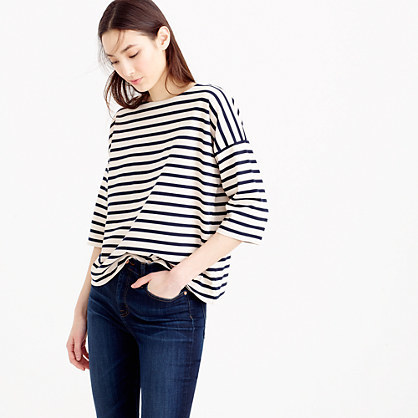Oversized Drop Sleeve Striped T Shirt - pattern: horizontal stripes; style: t-shirt; secondary colour: white; predominant colour: black; occasions: casual; length: standard; fibres: cotton - 100%; fit: loose; neckline: crew; sleeve length: 3/4 length; sleeve style: standard; pattern type: fabric; texture group: jersey - stretchy/drapey; multicoloured: multicoloured; season: s/s 2016; wardrobe: basic