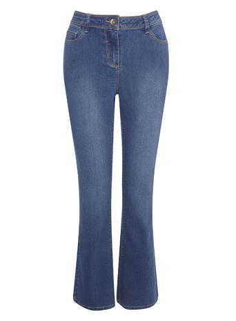 Womens Petite Bootleg Jeans, Midwash, Mid Wash - style: bootcut; length: standard; pattern: plain; waist: high rise; predominant colour: denim; occasions: casual, creative work; fibres: cotton - stretch; texture group: denim; pattern type: fabric; pattern size: standard (bottom); season: s/s 2016; wardrobe: basic