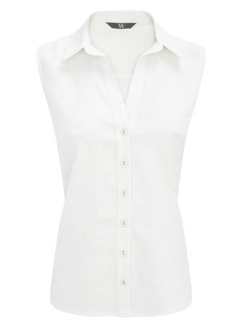 Womens Sleeveless Button Through Shirt, White, White - neckline: shirt collar/peter pan/zip with opening; pattern: plain; sleeve style: sleeveless; style: shirt; predominant colour: white; occasions: casual; length: standard; fibres: linen - 100%; fit: tailored/fitted; sleeve length: sleeveless; texture group: linen; pattern type: fabric; season: s/s 2016; wardrobe: basic