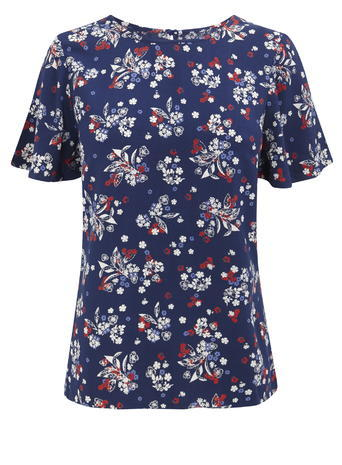 Womens Soft Floral Print Tee, Black, Navy Print - style: t-shirt; secondary colour: white; predominant colour: navy; occasions: casual; length: standard; fibres: viscose/rayon - 100%; fit: body skimming; neckline: crew; sleeve length: short sleeve; sleeve style: standard; pattern type: fabric; pattern: florals; texture group: jersey - stretchy/drapey; multicoloured: multicoloured; season: s/s 2016; wardrobe: highlight