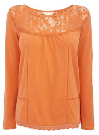 Womens Lace Yoke 3/4 Length Sleeve Blouse, Orange, Orange - neckline: round neck; pattern: plain; style: blouse; predominant colour: bright orange; occasions: casual, creative work; length: standard; fibres: cotton - 100%; fit: body skimming; sleeve length: long sleeve; sleeve style: standard; texture group: sheer fabrics/chiffon/organza etc.; pattern type: fabric; embellishment: lace; season: s/s 2016; wardrobe: highlight; embellishment location: bust