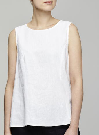 Womens Button Back Linen Top, White, White - pattern: plain; sleeve style: sleeveless; predominant colour: white; occasions: casual; length: standard; style: top; fibres: linen - 100%; fit: body skimming; neckline: crew; sleeve length: sleeveless; texture group: linen; pattern type: fabric; season: s/s 2016; wardrobe: basic