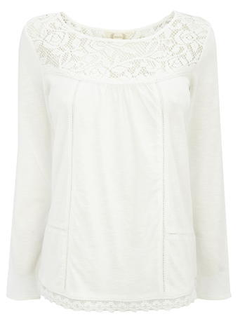 Womens Lace Yoke 3/4 Length Sleeve Blouse, Ivory, Ivory - neckline: round neck; pattern: plain; style: blouse; predominant colour: ivory/cream; occasions: casual, creative work; length: standard; fibres: polyester/polyamide - 100%; fit: body skimming; sleeve length: long sleeve; sleeve style: standard; pattern type: knitted - fine stitch; texture group: other - light to midweight; embellishment: lace; season: s/s 2016; wardrobe: highlight